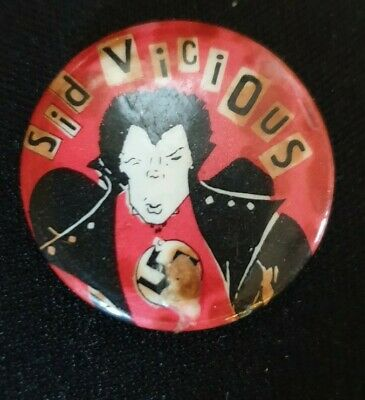 Very Rare SID VICIOUS Vintage Button Badge 100% Original Poor Cond SEX PISTOLS • 60£