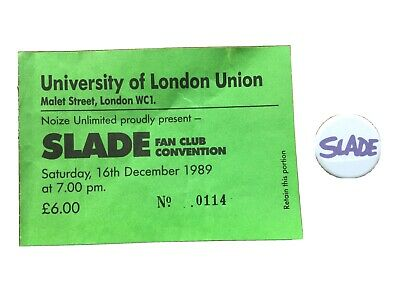 Slade - Button Badge & Fan Club Convention 1989 Ticket Stub • 2.50£