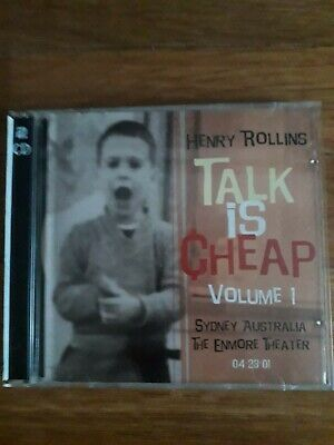 Henry Rollins -Talk Is Cheap Volume 1, Sydney Australia,The Enmore Theater 2xCD. • 7£