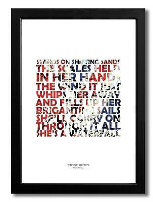 Stone Roses Waterfall A4 Art Print Poster With Lyrics • 5.99£