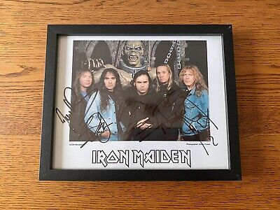 Iron Maiden: Official FC Framed Autograph / Fully Signed PROMO Photograph • 145£