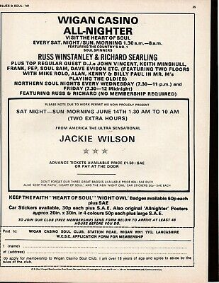 Original Wigan Casino Poster Ad Northern Soul  All Nighter 1975 + JACKIE WILSON • 5.99£