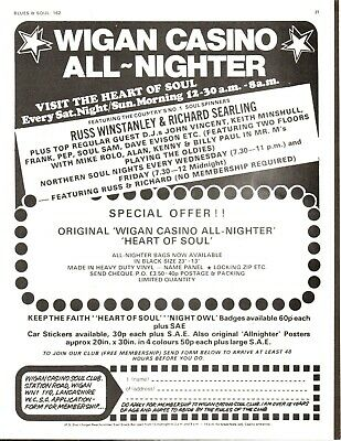 Original Wigan Casino Poster Ad Northern Soul ALL NIGHTER 1970s • 4.99£