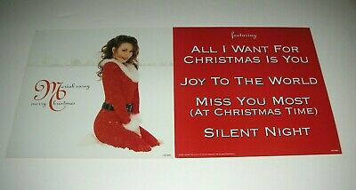 MARIAH CAREY Merry Christmas 2 Sided Promo 12x12 Poster Flat 1994 Mint- • 7.15£