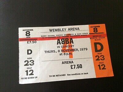 Abba.Unused Wembley Arena Concert Ticket.1979.Vintage.Genuine.Private Collection • 50£