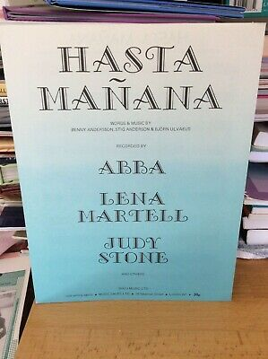 Abba.Hasta Manana.Sheet Music.1974.Rare.Vintage.Private Collection. • 40£