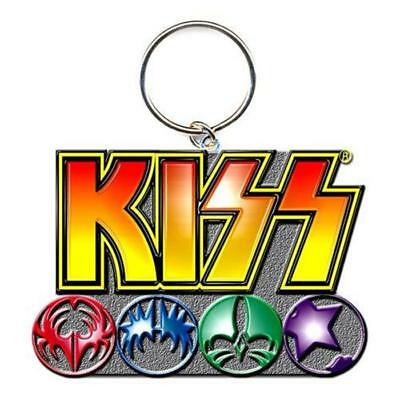 Official Licensed - Kiss - Logo & Icons Keychain Keyring Metal Rock Simmons • 6.99£