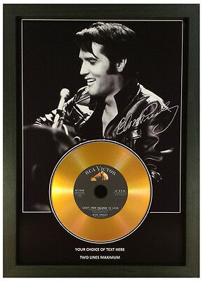 Elvis Presley *add Your Personal Message* Signed Gold Disc Memorabilia Gift Mk2 • 16.99£