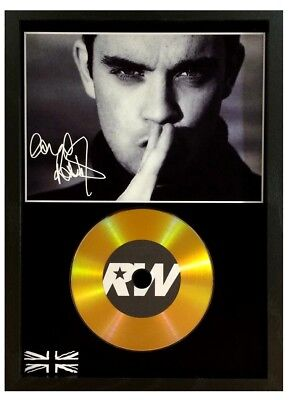 Robbie Williams Signed Photo - Gold Cd Disc Display Collectable Memorabilia Gift • 14.99£