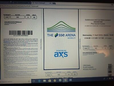 2 X Arcade Fire Seated Tickets Wembley Wednesday 11 April • 120£