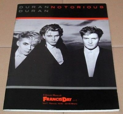 DURAN DURAN Song And Sheet Music Book ITALY Issue - Notorious Album • 22.99£