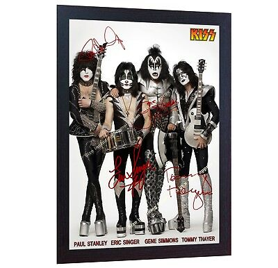 Kiss American Rock Band Music Signed Autograph Photo Print Poster KISS FRAMED • 18.99£