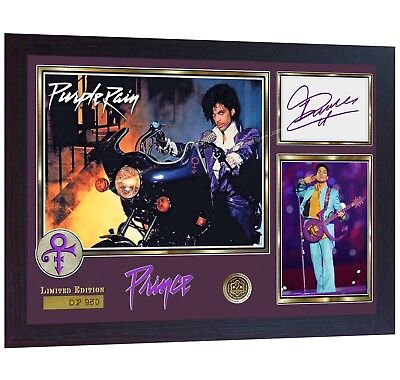 PRINCE Rogers Nelson Signed Autograph Photo Print Purple Rain Album Rock Framed • 18.99£