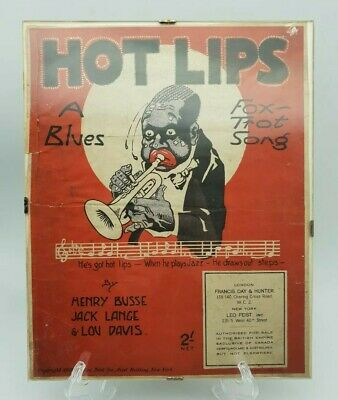 Vintage Hot Lips A Blues Foxtrot Song By Harry Busse Etc 1921 Advertising Poster • 59.99£