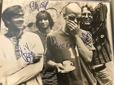 R.E.M Autographed Rare Black And White 8x10   Signed By All 4 REM Rare • 873.43£