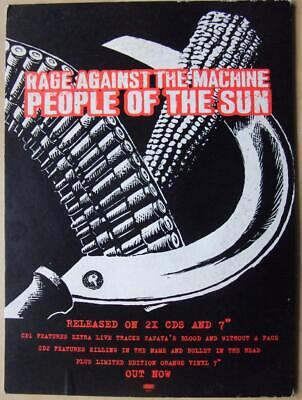 Rage Against The Machine People Of The Sun 1993 Record Shop Card Display Promo • 25£