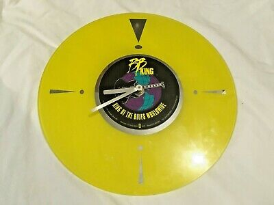 B.B. King  King Of The Blues Worldwide  Yellow Vinyl Glass Collectible Clock • 11.10£