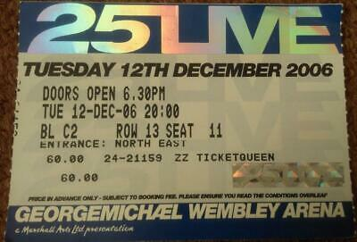 George Michael Wembley Arena Ticket 12/12/06 25 Live Tour #13/11 • 15£