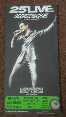 George Michael Carrow Road Norwich  Ticket 12/06/07-  25 Live Tour #00214 • 15£