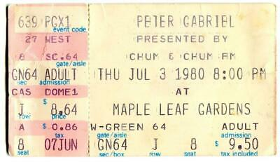 Peter Gabriel Ticket Maple Leaf Gardens Toronto 03/07/80 • 12.50£
