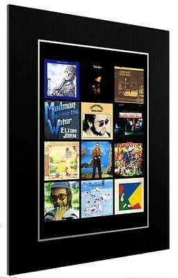 Mounted / Framed Print Elton John Discography - Different Sizes  Poster Gift Art • 33.38£