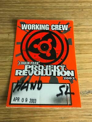 2003 Working Stagehand Crew Pass For Band Linkin Park Project Revolution Concert • 15.59£