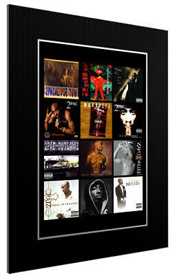 Mounted / Framed Print 2pac Discography - Different Sizes Rap Poster Gift Art • 42.83£