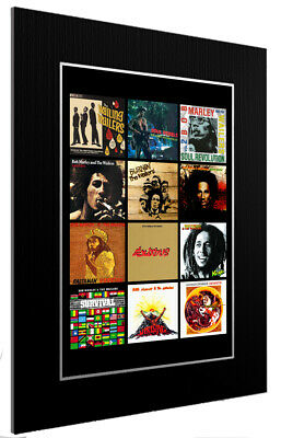 Mounted / Framed Print Bob Marley Discography - 3 Sizes Poster Gift Art • 33.39£