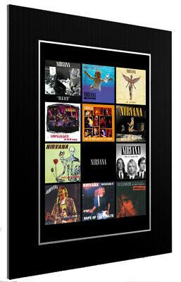 Mounted / Framed Print Nirvana Discography 3 Sizes Poster Gift Artwork • 45.44£