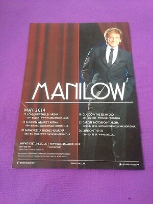 BARRY MANILOW 2014 UK TOUR Flyer • 1.99£