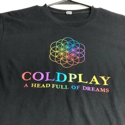 Coldplay Head Full Of Dreams 2016 Tour Adult Short Sleeve T Shirt Large L Black  • 11.49£