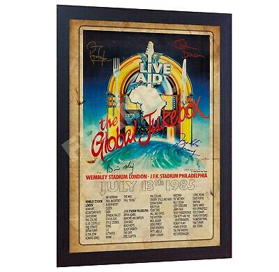 1985 Freddie Mercury Queen Art Print Poster Old Vintage Signed LIVE AID FRAMED • 17.99£