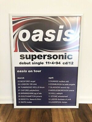 Oasis - Supersonic Original Tour Poster 1994 - A1 High Quality Aluminium Frame. • 50£