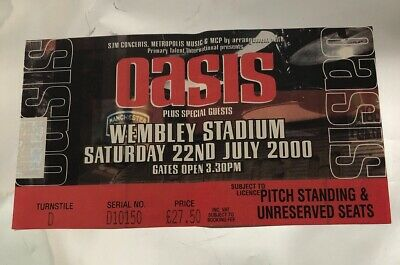 OASIS TICKET Standing On The Shoulder Of Giants Tour Wembley London 22 July 2000 • 19.95£