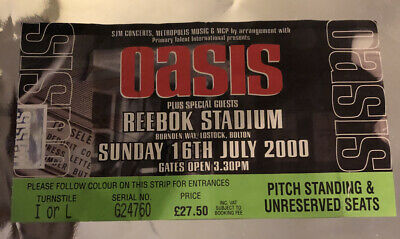OASIS TICKET Standing On The Shoulder Of Giants Tour 16 July 2000 Reebok Bolton • 19.95£