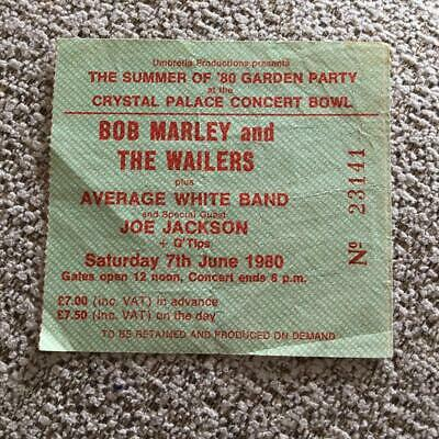 Bob Marley & The Wailers  Ticket Crystal Palace Garden Party 07/06/80 #23141 • 125£