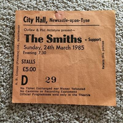 The Smiths Morrissey  Ticket Newcastle City Hall 24/03/85 #D29 • 100£