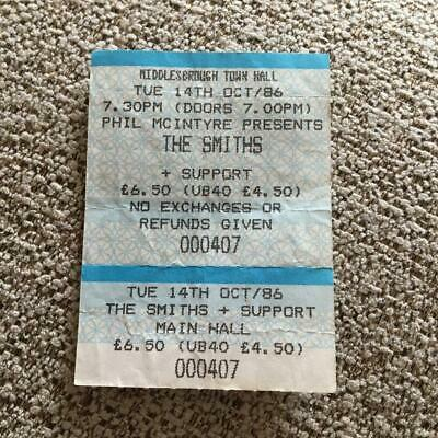 The Smiths Morrissey Ticket Middlesbrough Town Hall 14/10/86 #00407 • 100£
