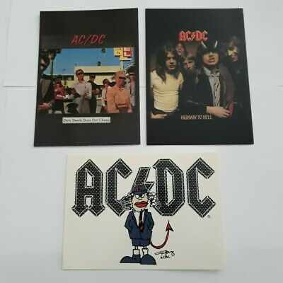 3 X AC/DC - OFFICIAL POSTCARDS 2004 Highway To Hell. Dirty Deeds Done Dirt Cheap • 1.99£