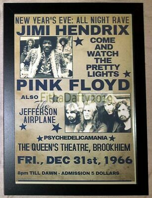 Jimmy Hendrix Pink Floyd Reproduction Tour Poster A4 Framed Photo Print • 9.99£
