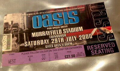OASIS TICKET Murrayfield 29th July 2000 Standing On The Shoulder Of Giants Tour • 29.95£