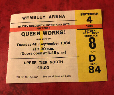 QUEEN TICKET 'The Works' Tour Wembley Arena 4th September 1984 Rare Memorabilia • 39.99£