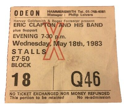 ERIC CLAPTON TICKET London Hammersmith 18 May 1983 Money And Cigarette Tour Rare • 22.95£