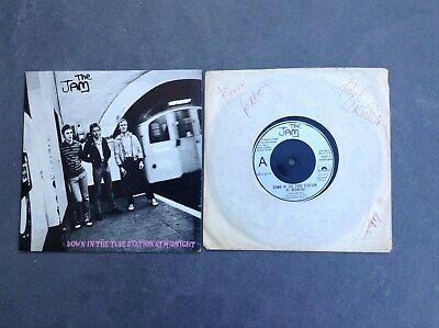 THE JAM Down In Tube Station 7  GENUINE HAND SIGNED BY ALL 1979 PAUL WELLER RARE • 195£