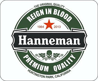 Slayer Jeff Hanneman Beer Label Logo Rubber Backed Mouse Mat • 7.99£