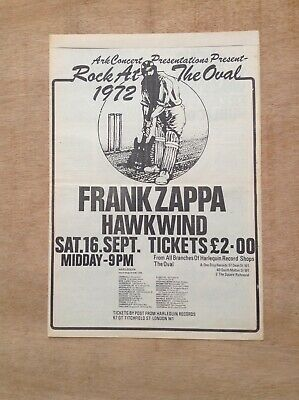 FRANK ZAPPA HAWKWIND Rock At The Oval 1972 UK POSTER Size Press ADVERT 16  X 12  • 45£