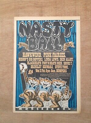 HAWKWIND PINK FAIRIES - Nasty Ball - 1972 UK POSTER Size Press ADVERT 16  X 12  • 80£