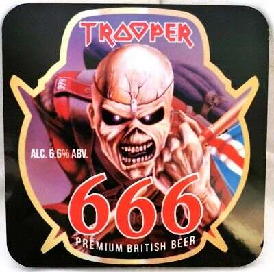 Iron Maiden Trooper 666 Beer Glossy Colour Wooden Coaster • 2.99£