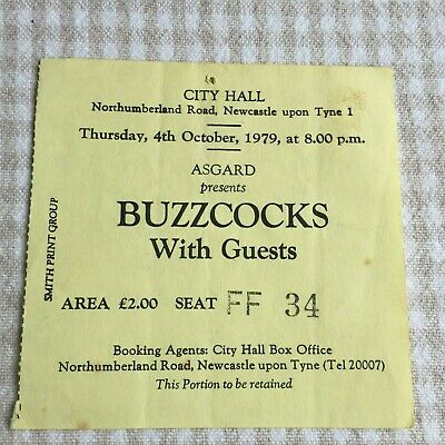 Joy Division Buzzcocks  Ticket Newcastle City Hall 04/10/79 Yellow Ticket FF34 • 150£