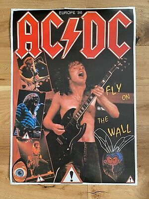AC/DC - Fly On The Wall Europe 1986 Tour - VINTAGE Large POSTER 34  X 24  Rock • 45£